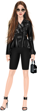 Doll wearing a black leather jacket and biker shorts